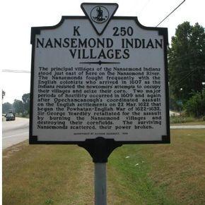 Photo of Nansemond Indian Villages Historical Marker