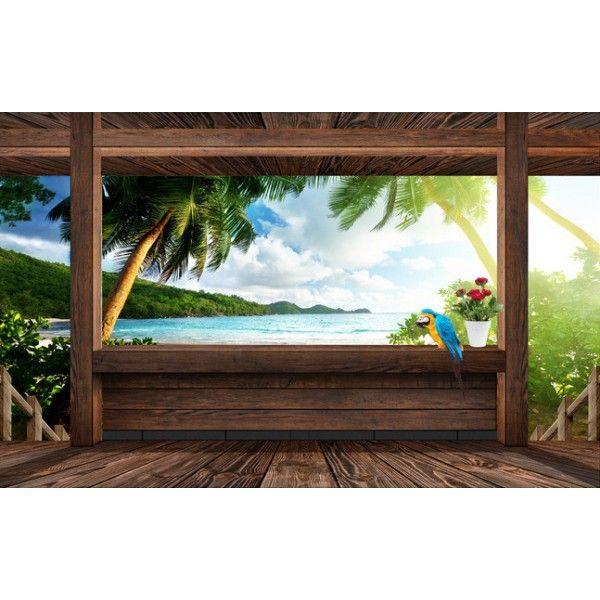 Tapisserie trompe l 39 il effet 3d vue de la mer depuis ma petit cabane extension d 39 espace - Tapisserie trompe l oeil ...