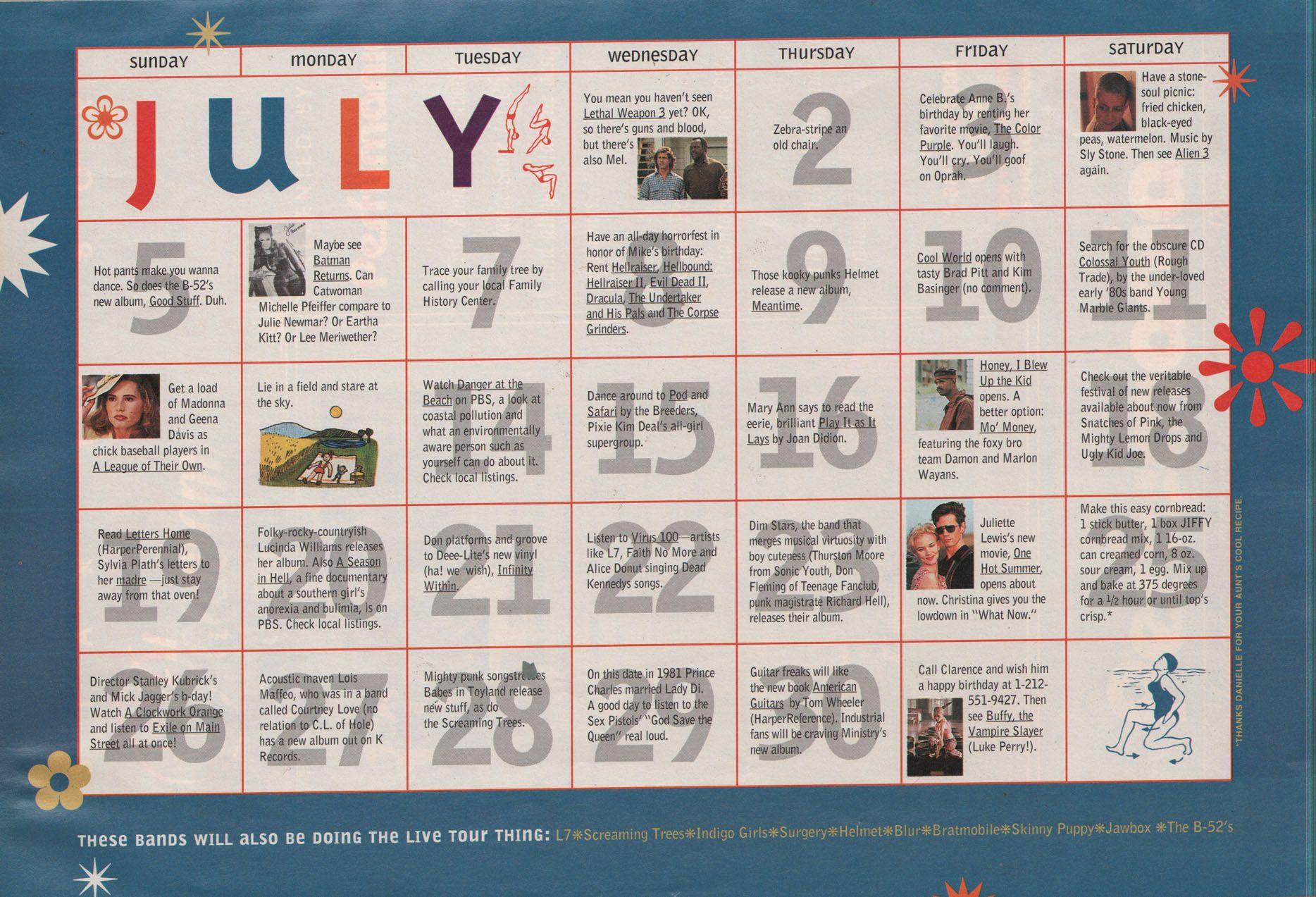 Sassy July 1992 Summer Entertainment Calendar July Summer