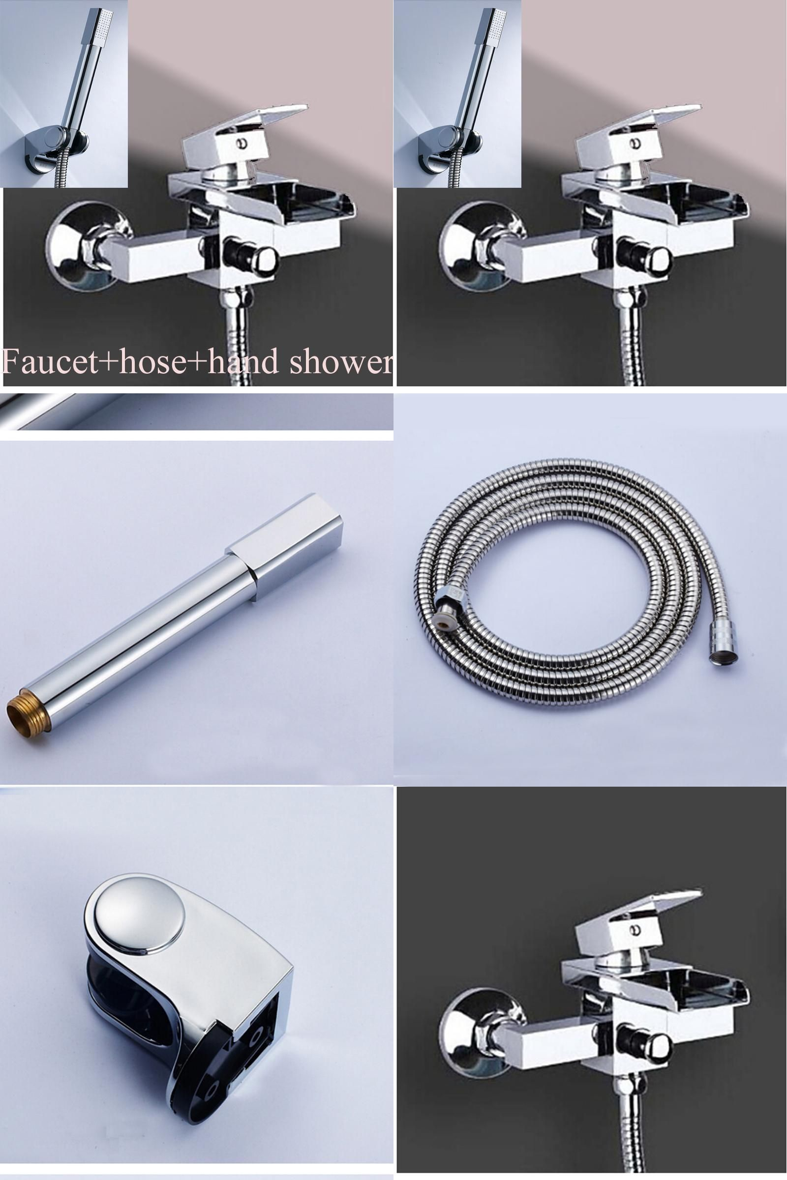 Visit to Buy] Solid Brass Waterfall Spout Bathroom Tub Faucet W ...