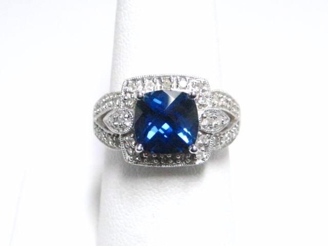 DIAMOND & CREATED SAPPHIRE LARGE COCKTAIL RING - Seized Property Auctions .Com (LOT#73270 ENDS 10/25/2015 11:00:00 PM ET)