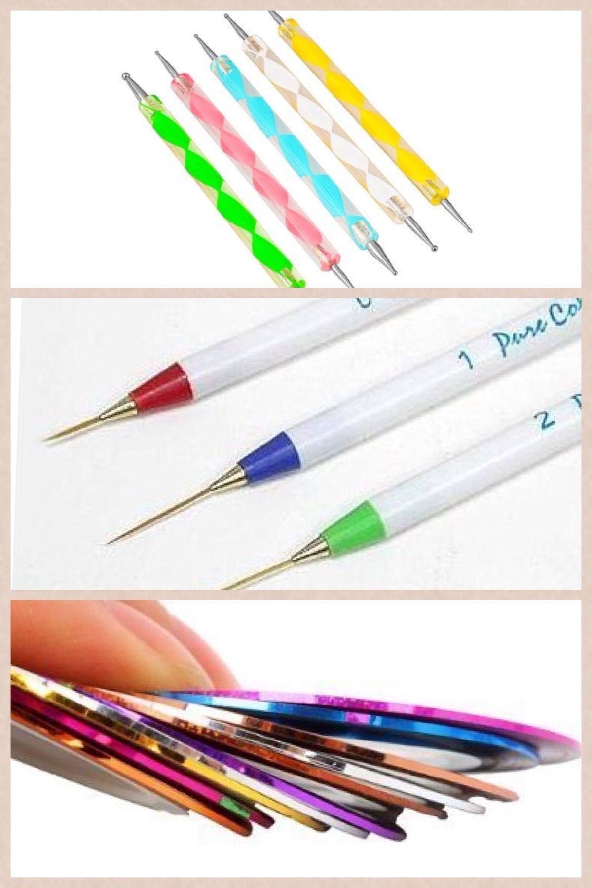 Nail tape, stripers, and dotting tool. You can get all of this from ...