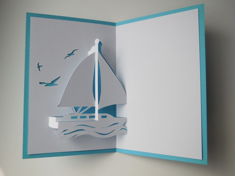 Pop Up Karten Pop Up Karte Segelboot Jacht Klein Ein