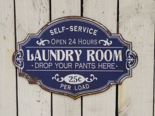 Laundry Room Decor Signs Primitive Vintage Style Self Service Laundry Sign Farmhouse