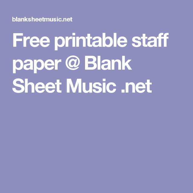 staff paper to print