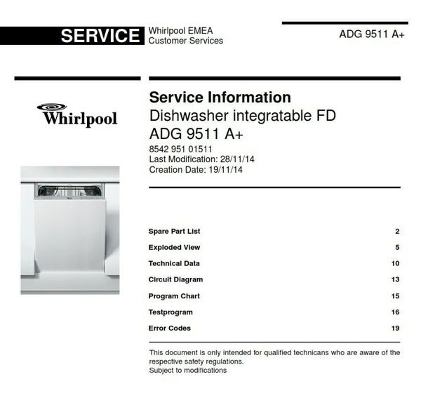 whirlpool adg 9511 a dishwasher original service information manual rh pinterest com Whirlpool Service Matters Whirlpool Refrigerator Service