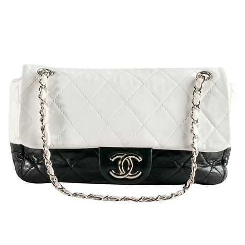 Chanel Quilted Lambskin Two Tone Flap Shoulder Bag 112.