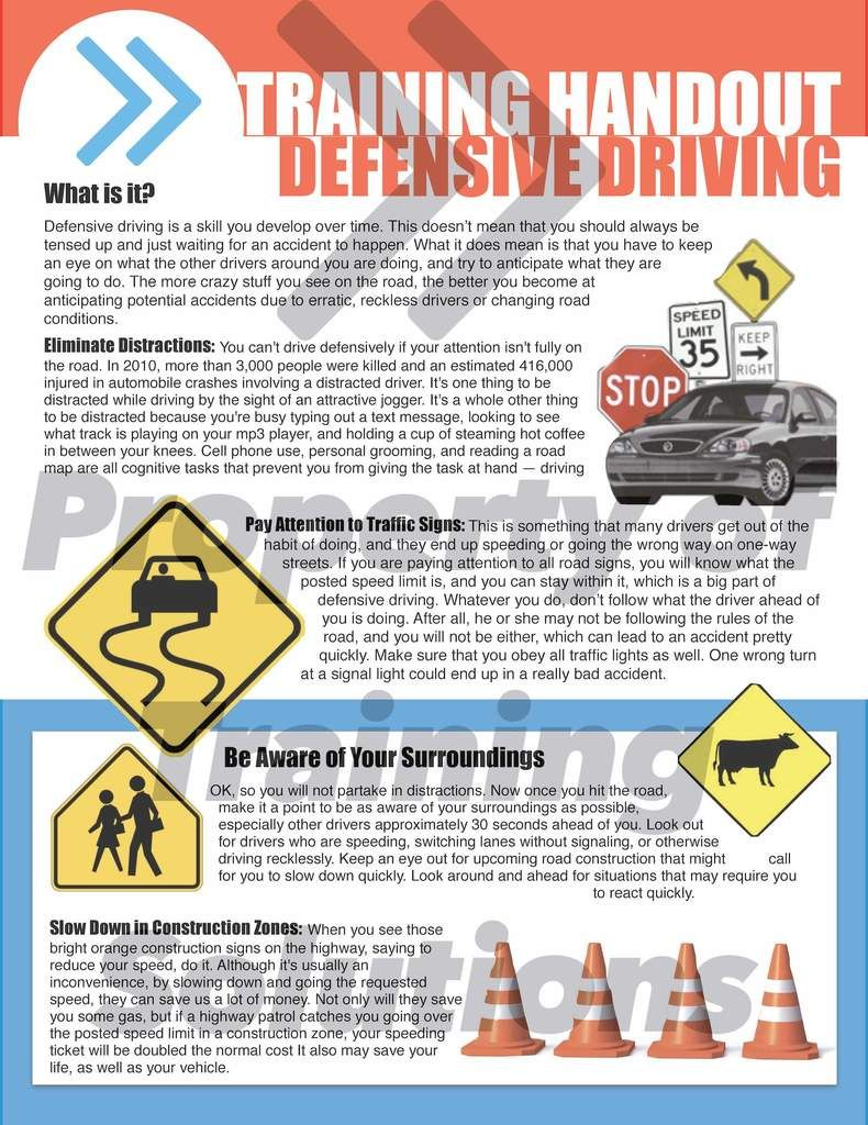 Defensive Driving Handout Safe driving tips, Distracted
