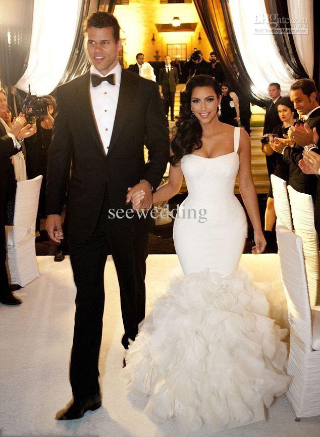 Kim Kardashian Wedding Dresses Straps Mermaid Dress Layered Organza Skirt Y Gowns Fashion Bridal