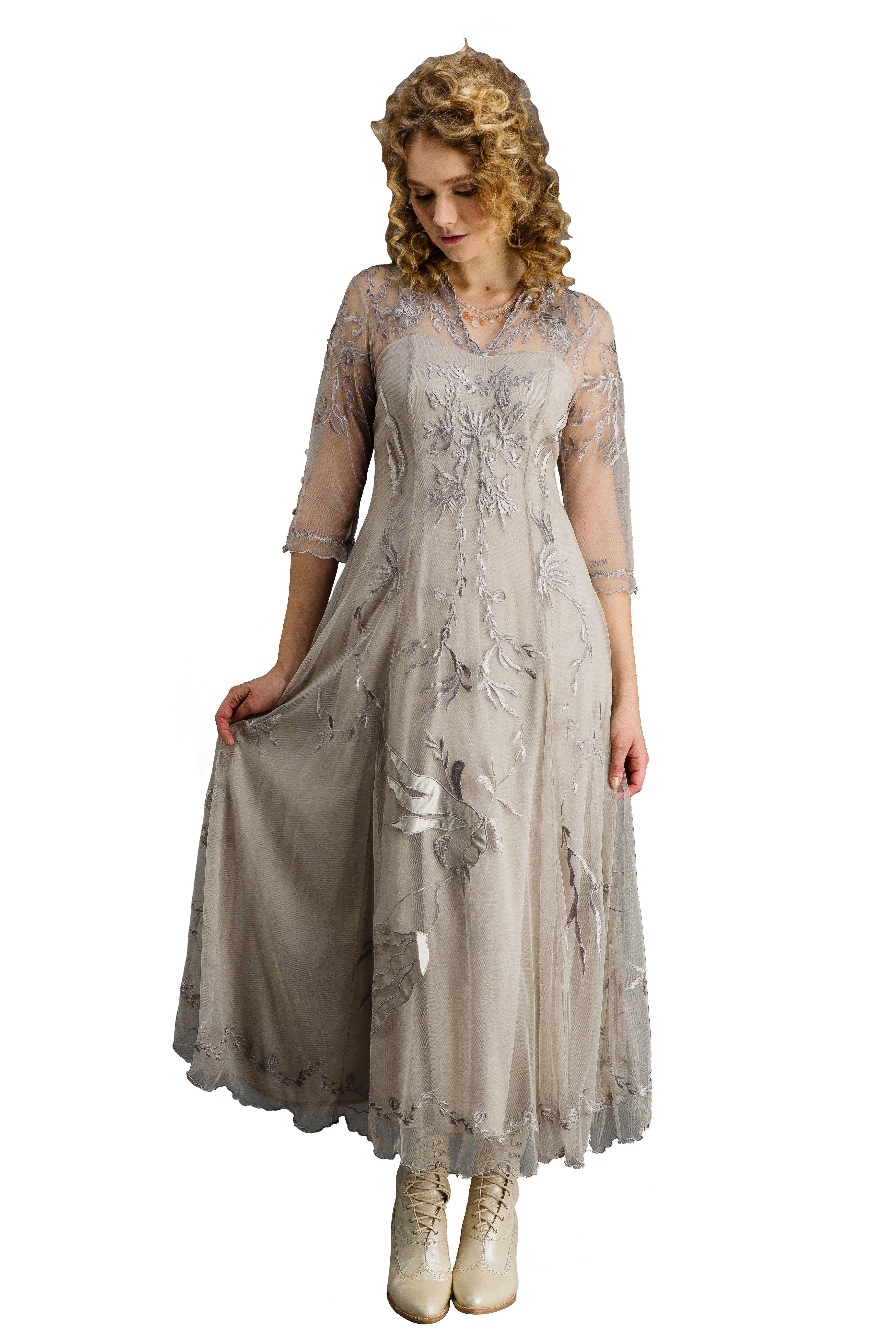 Elizabeth Vintage Style Wedding Gown in Silver/Grey by