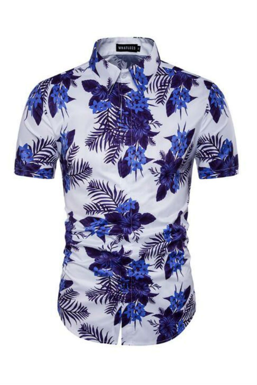 475a989dd8bd Mens Fashion Summer – The World of Mens Fashion. Blue Floral Prints Short-Sleeved  Shirt In White