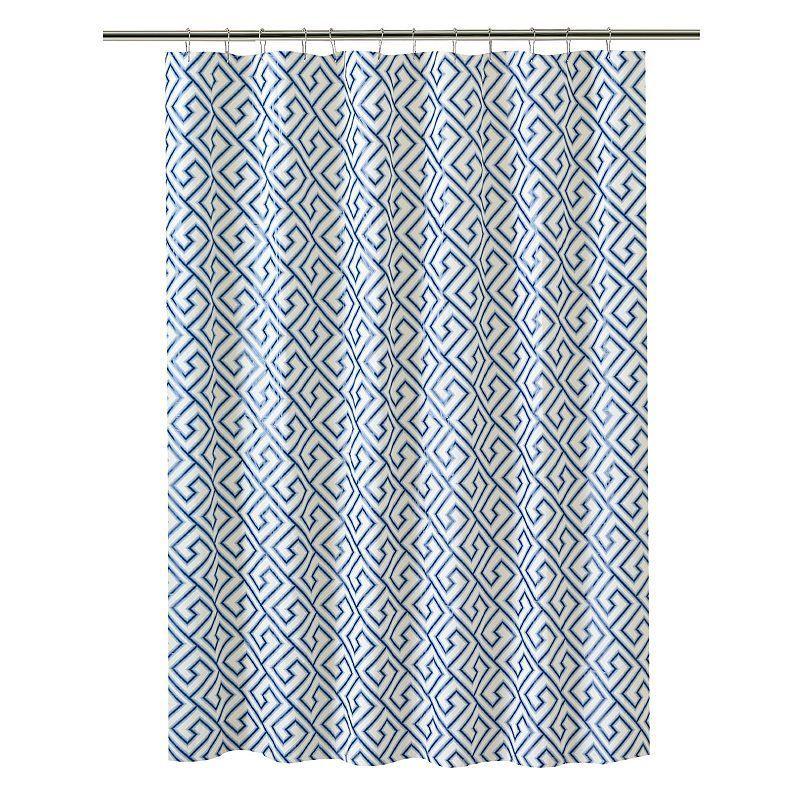 Bath Bliss Greek Key Shower Curtain Liner, Blue