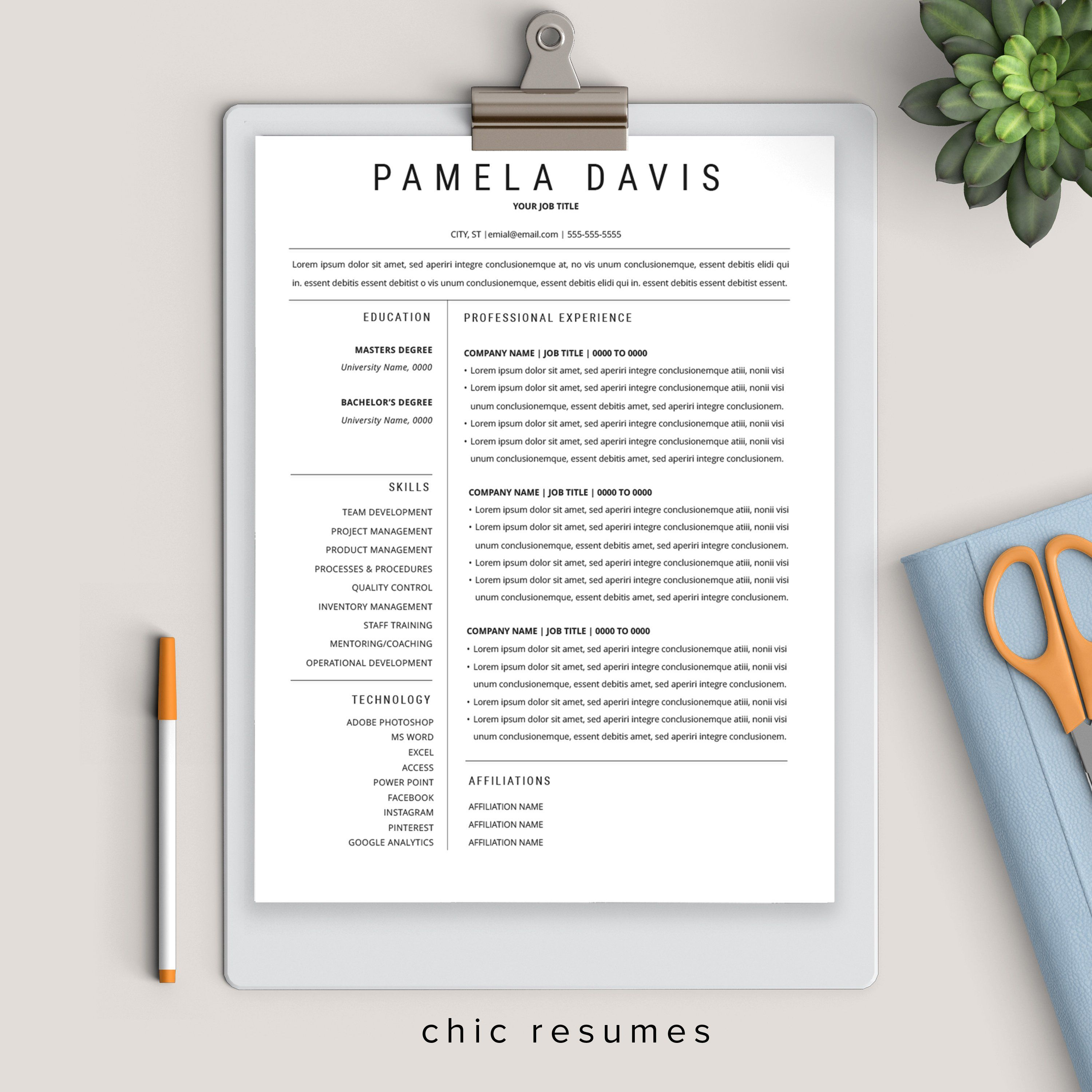 Clean 1page resume template executive resume template