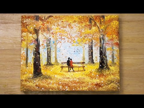 42 How To Draw A Couple On A Bench Cotton Swabs Painting Technique 419 Youtube Diy Canvas Art Painting Diy Canvas Art Painting