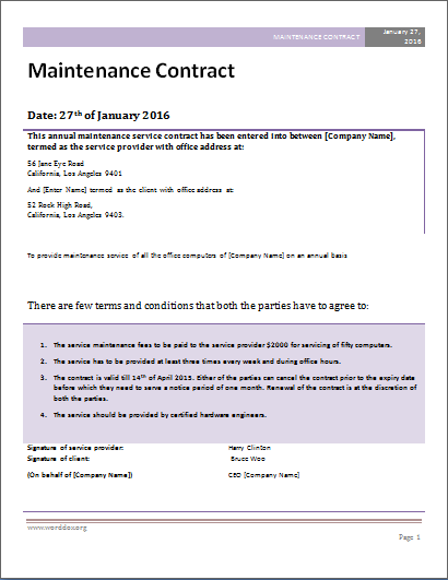 Maintenance contract is such that it consists of all the for Garden maintenance contract template