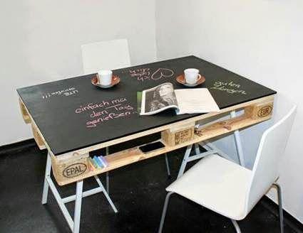 Mesa de comedor de diario con palet reciclado con tablero pintado ...