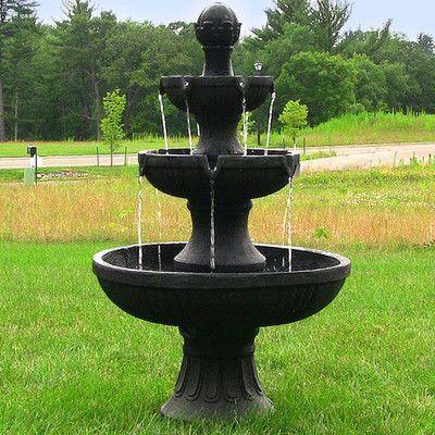 SunnyDaze Decor Fiberglass Resin Flower Blossom 3 Tier Electric Water Fountain