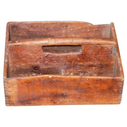 Primitive Garden Tool Carrying Wooden Box W Handle Vintage