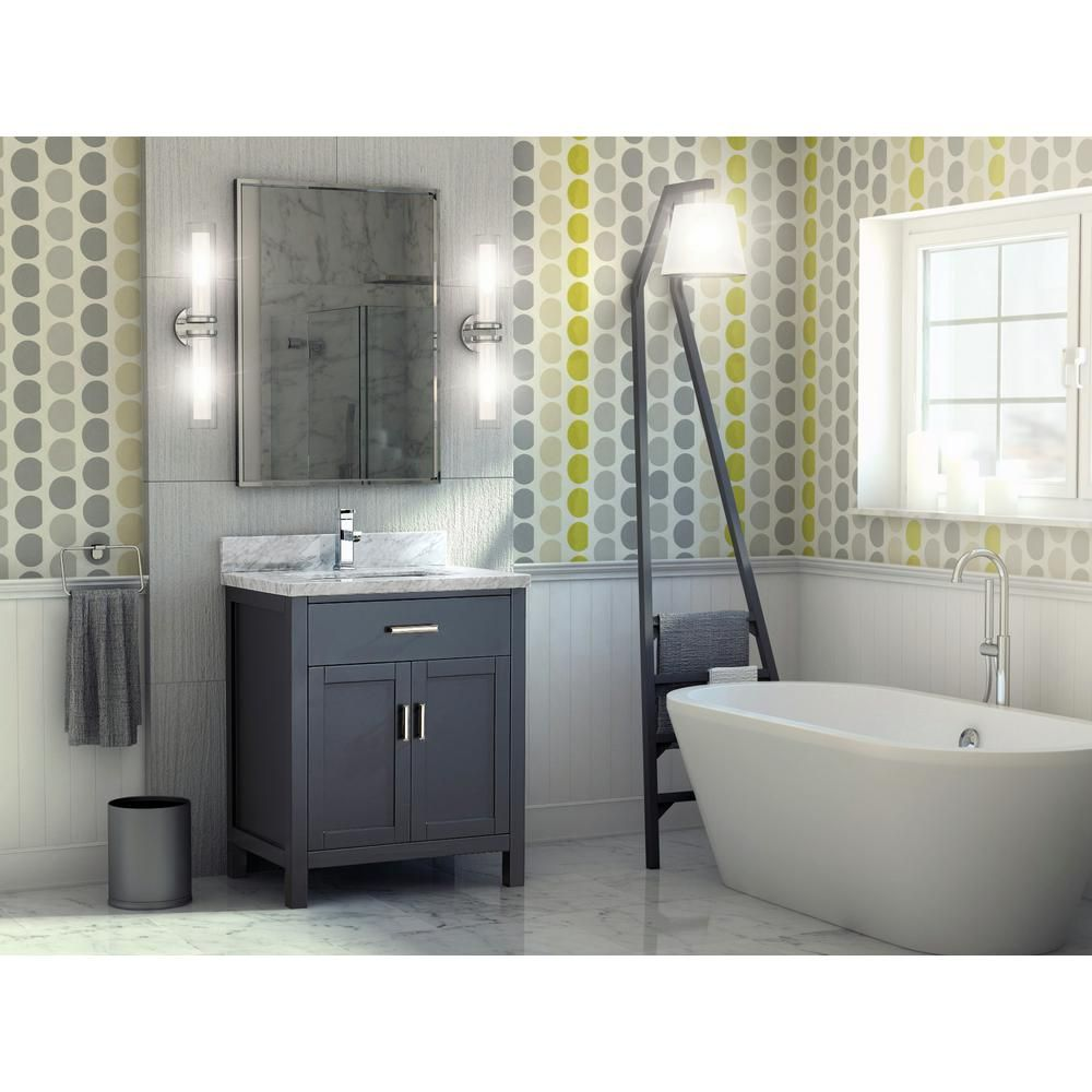 30 inch Pepper Gray Finish Transitional Bathroom Vanity Cabinet with Mirror