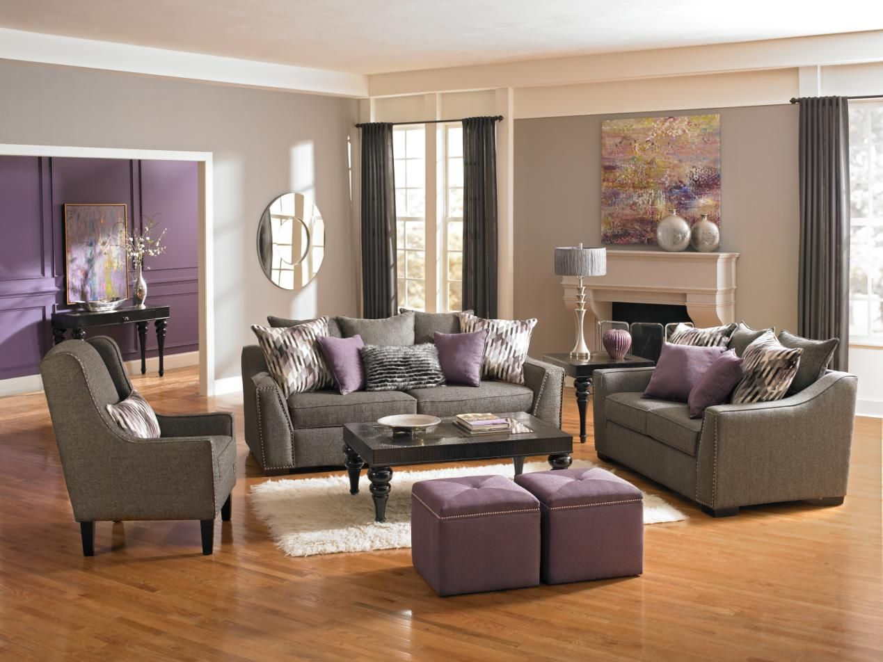 Accent a room with radiant orchid like we did here with for Gray living room furniture ideas