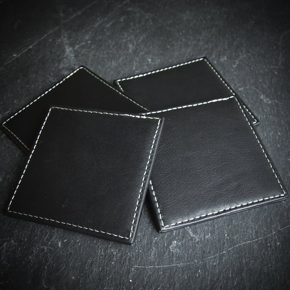 Farrar & Tanner Leather Square Coaster Set Limited Stock