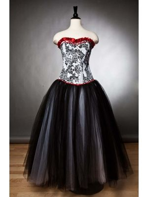 black romantic gothic corset prom party gown  damask