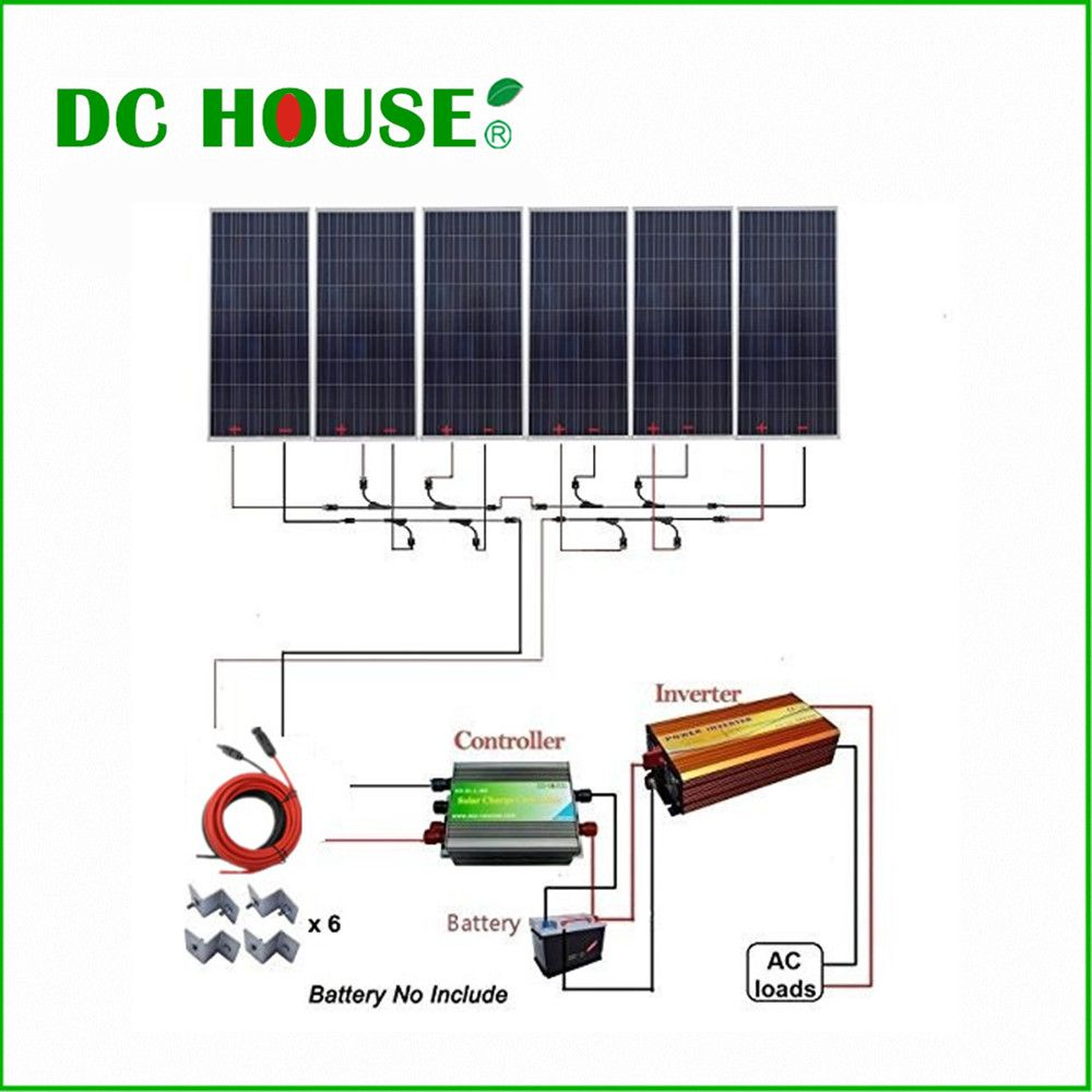 Dc House Usa Uk Stock 6x160w Photovoltaic Solar Panel 1000w 12v Off Grid Solar System W 1500w 110v Inverter For H Off Grid Solar Solar Panel Kits Solar Panels