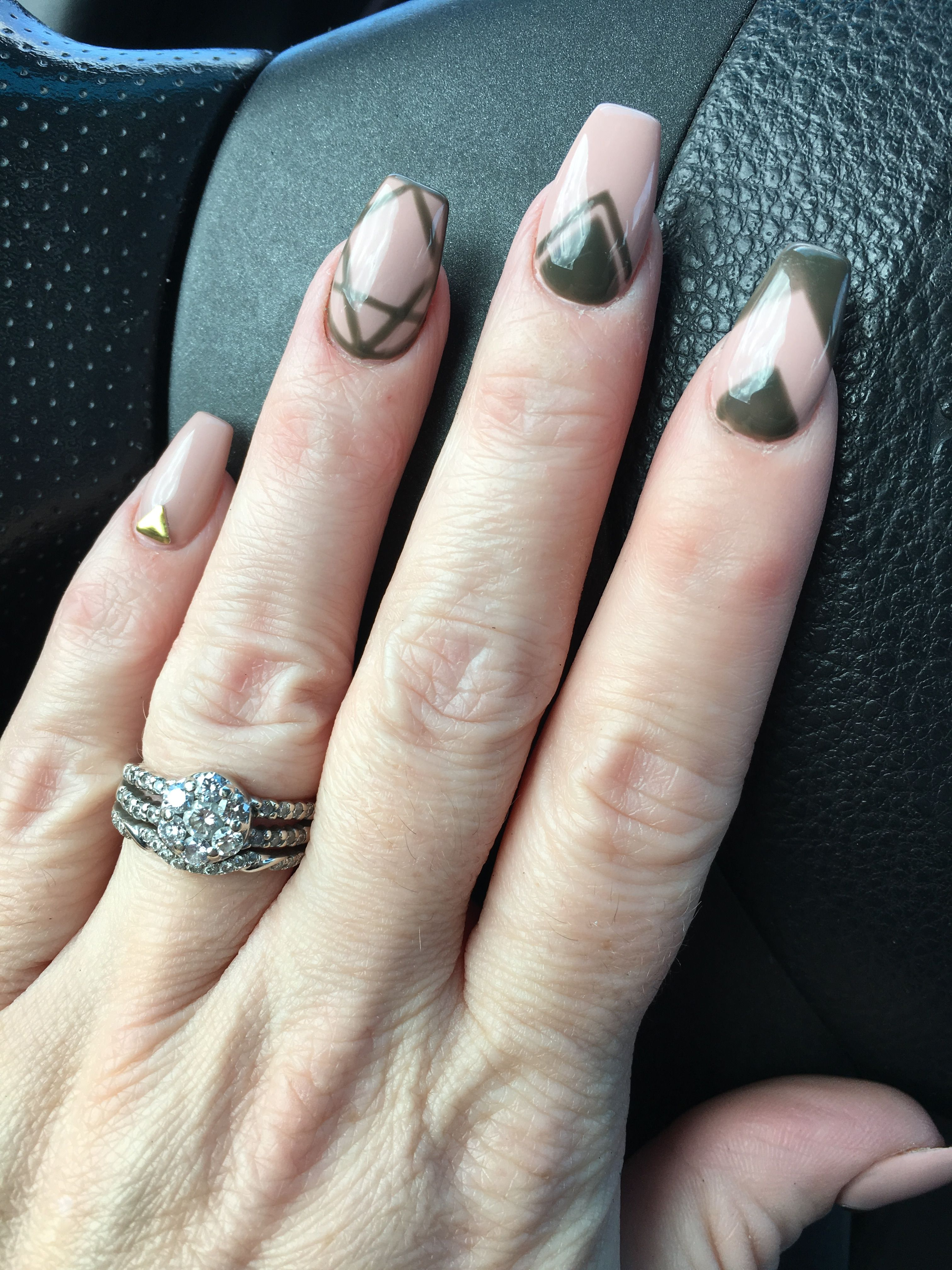 Olive Green And Tan With Design Coffin Nails Nail Designs Nails