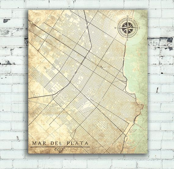 MAR del PLATA Canvas Print Argentina Vintage map City Vintage Wall