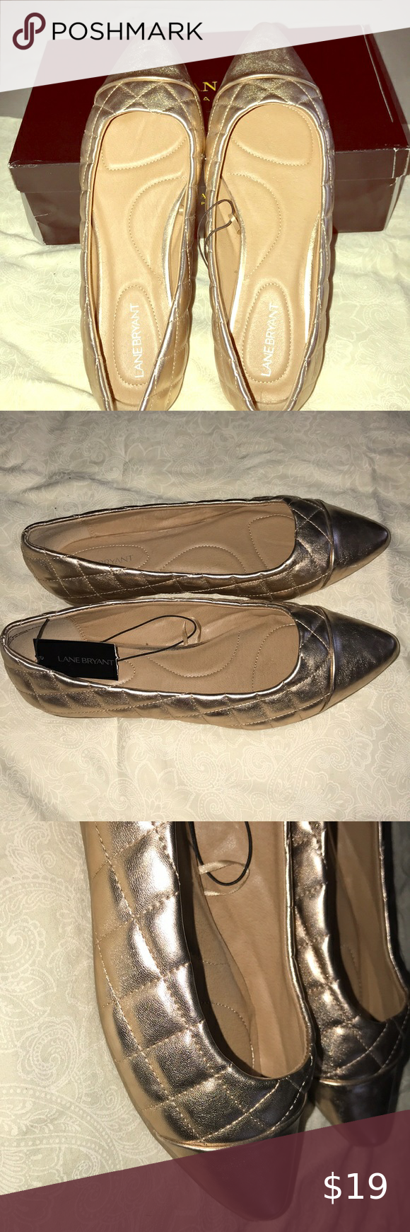 Size 12w Rose Gold Quilted flats. in
