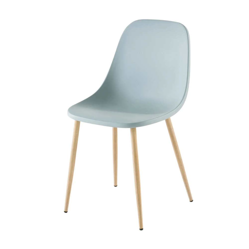 Chaise Contemporaine Bleu Gris Fibule Maisons Du Monde Grauer Stuhl Metallstuhle Minimalistische Mobel