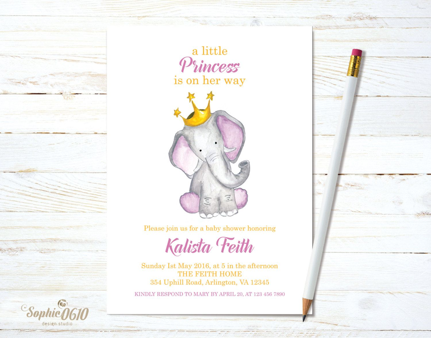Printable baby shower invitation watercolor princess baby elephant printable baby shower invitation watercolor princess baby elephant digital file by sophie0610designs on etsy filmwisefo