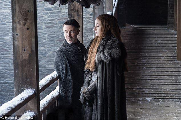Plotting? Aidan Gillen as Petyr 'Littlefinger' Baelish and Sophie Turner as Sansa Stark...