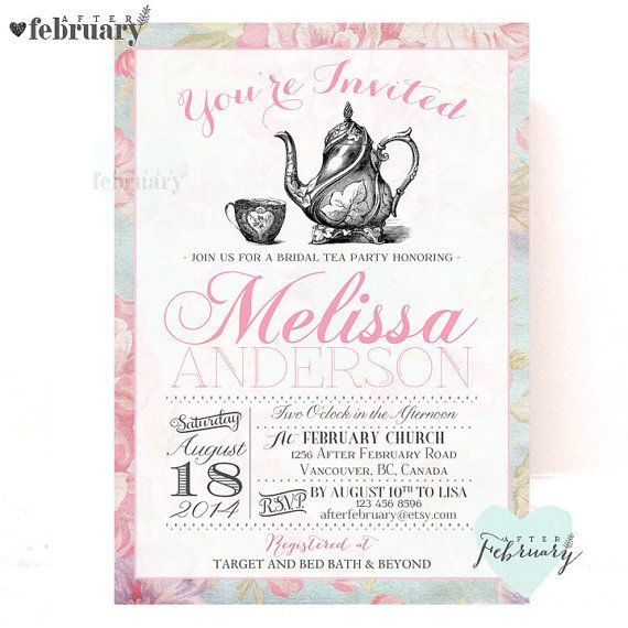 Bridal Shower Tea Party Invitation Vintage by AfterFebruary