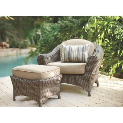 Martha Stewart Living Lake Adela Weathered Gray All Weather Wicker Patio  Lounge Chair And Ottoman Set With Sand Cushions