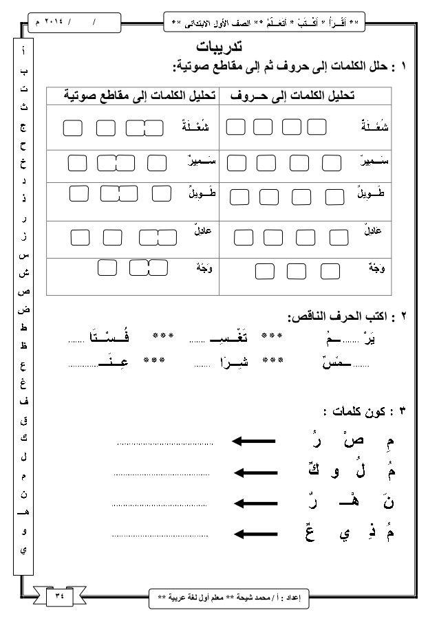 شرح منهج اللغة العربية للصف الأول الابتدائى ترم اول Learning Arabic Arabic Alphabet For Kids Arabic Alphabet Letters