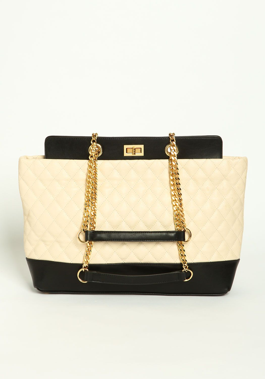 Quilted Two Tone Shoulder Bag - Love Culture