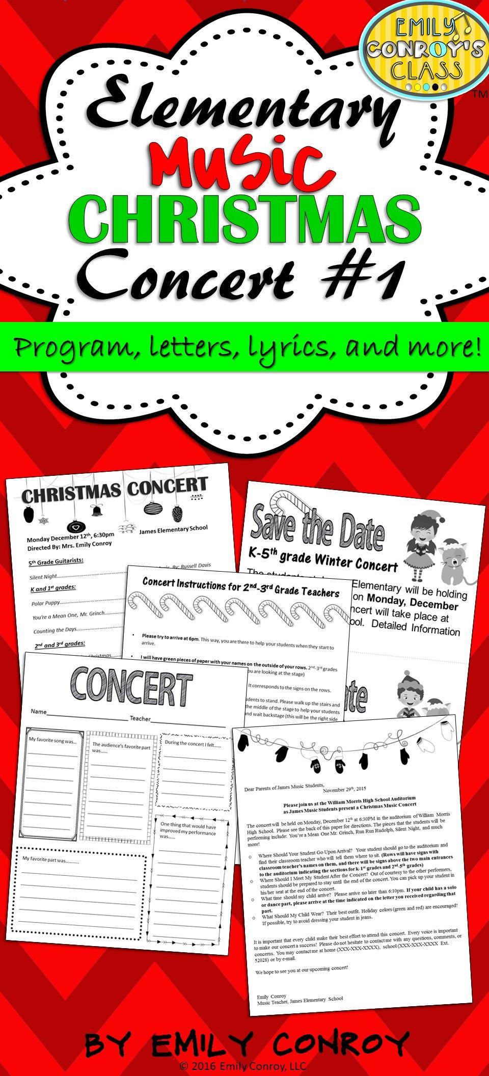 Elementary Music Christmas Concert 1 Program, letters