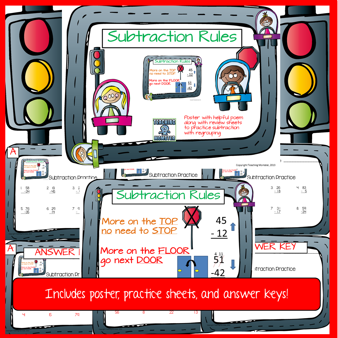Subtraction With Borrowing Reminder