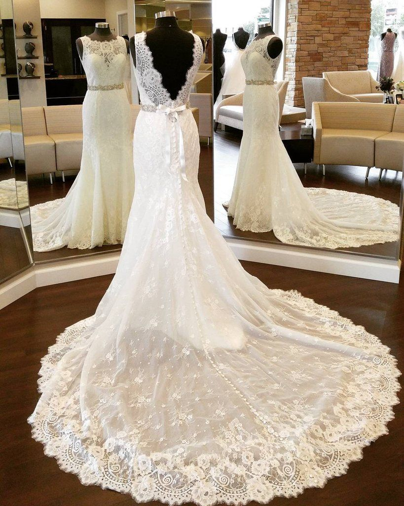 vintage scoop neckline open back lace mermaid wedding dresses 2017