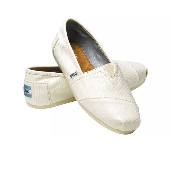 be4589840f7b Bridal white glitter toms Brand new! Size six but can fit a size seven TOMS  Shoes Flats & Loafers