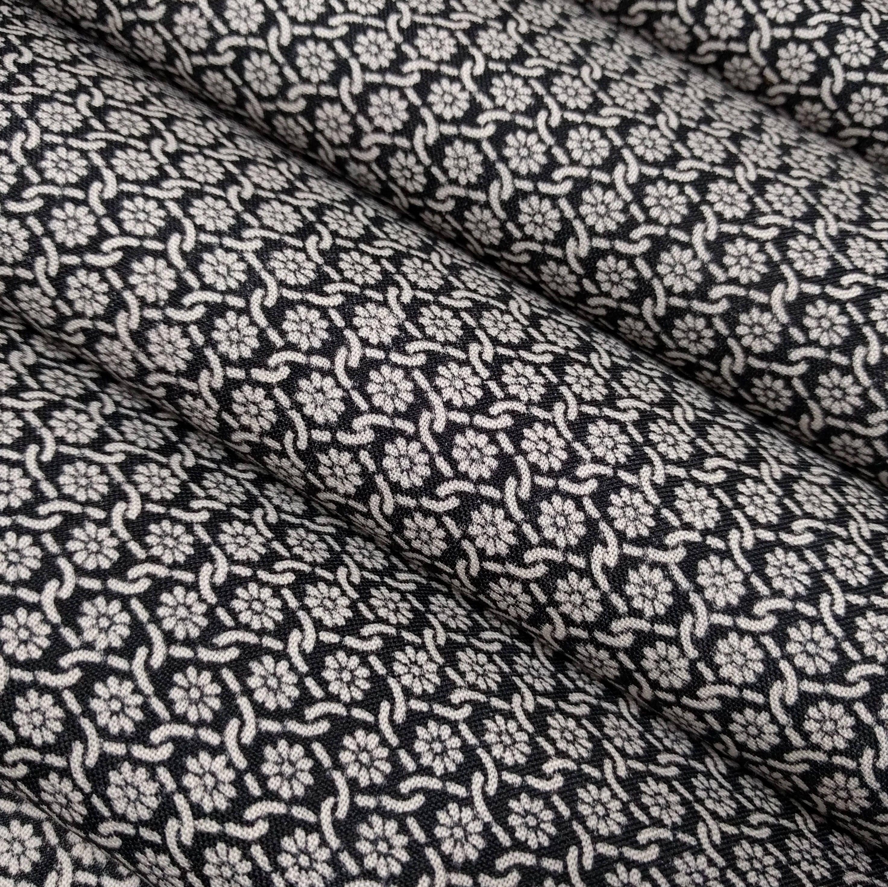 Vintage Black With White Floral Wool Kimono Fabric By The Yard Kimono Fabric Fabric Japanese Fabric