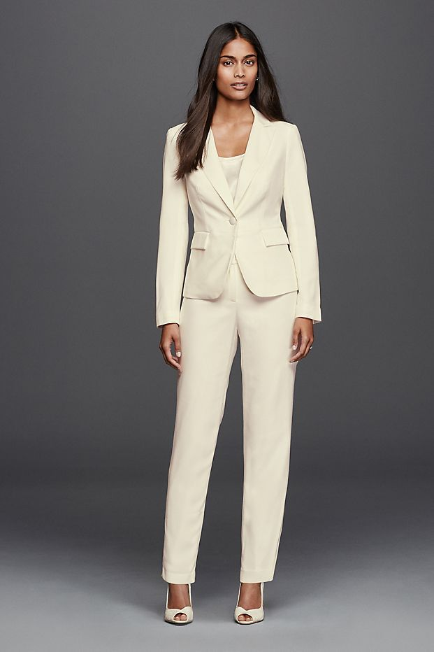 We love this chic bridal look!   Long Sleeve Crepe Jacket ...