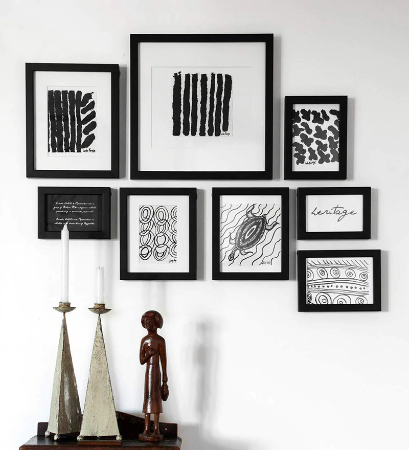 Buy Black Solid Wood 10x12 Inches Photo Frames Set Of 8 Free Hanging By Art Street Online Collage Photo Frames Photo Frames Home D