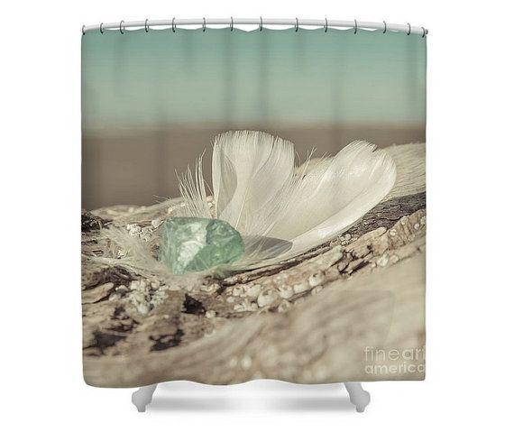 Feathers Sea Glass Shower Curtain Nautical Bathroom By Lucidmood