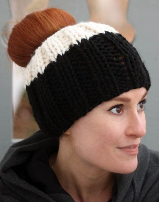 bafd36fcf4d60 Free Knitting Pattern for Ribbed Messy Bun Hat