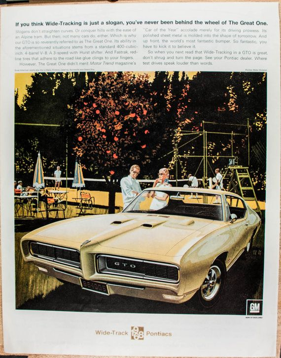 1968 Pontiac GTO Magazine Ad from 1968 by VintageVirtus on Etsy