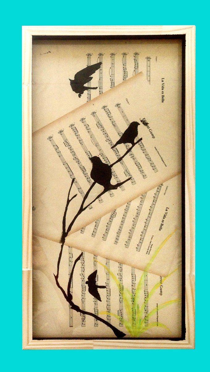 Cuadros Pájaros Con Marco Moderno Vintage Shabby Chic - $ 370,00 en ...