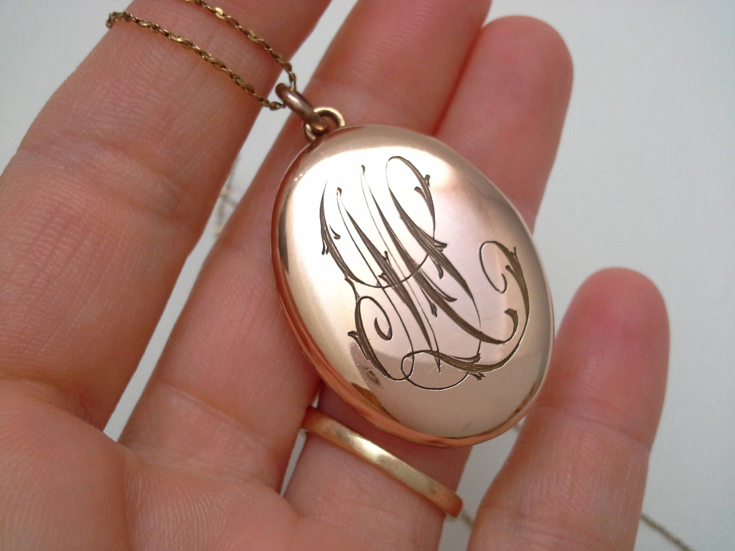 intial filled lockets monogram a pin edwardian antique locket gold