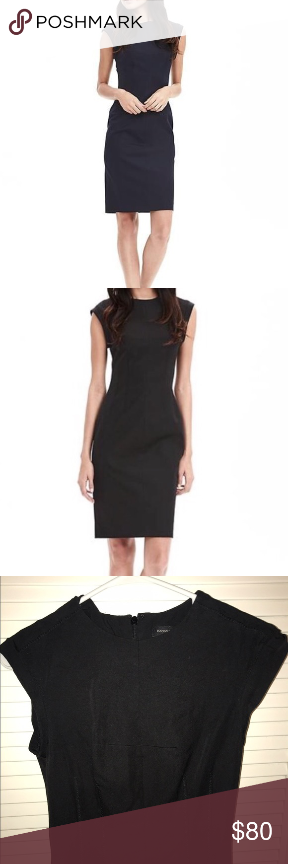 Banana Republic Bi-stretch crew Sheath Dress Black. Crew beck.  Back zip.  Cap sleeve.  Worn a few times but bought this year and I'm great condition. Banana Republic Dresses Midi